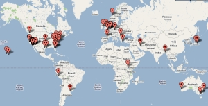 Latest 500 visitors image map August 2009